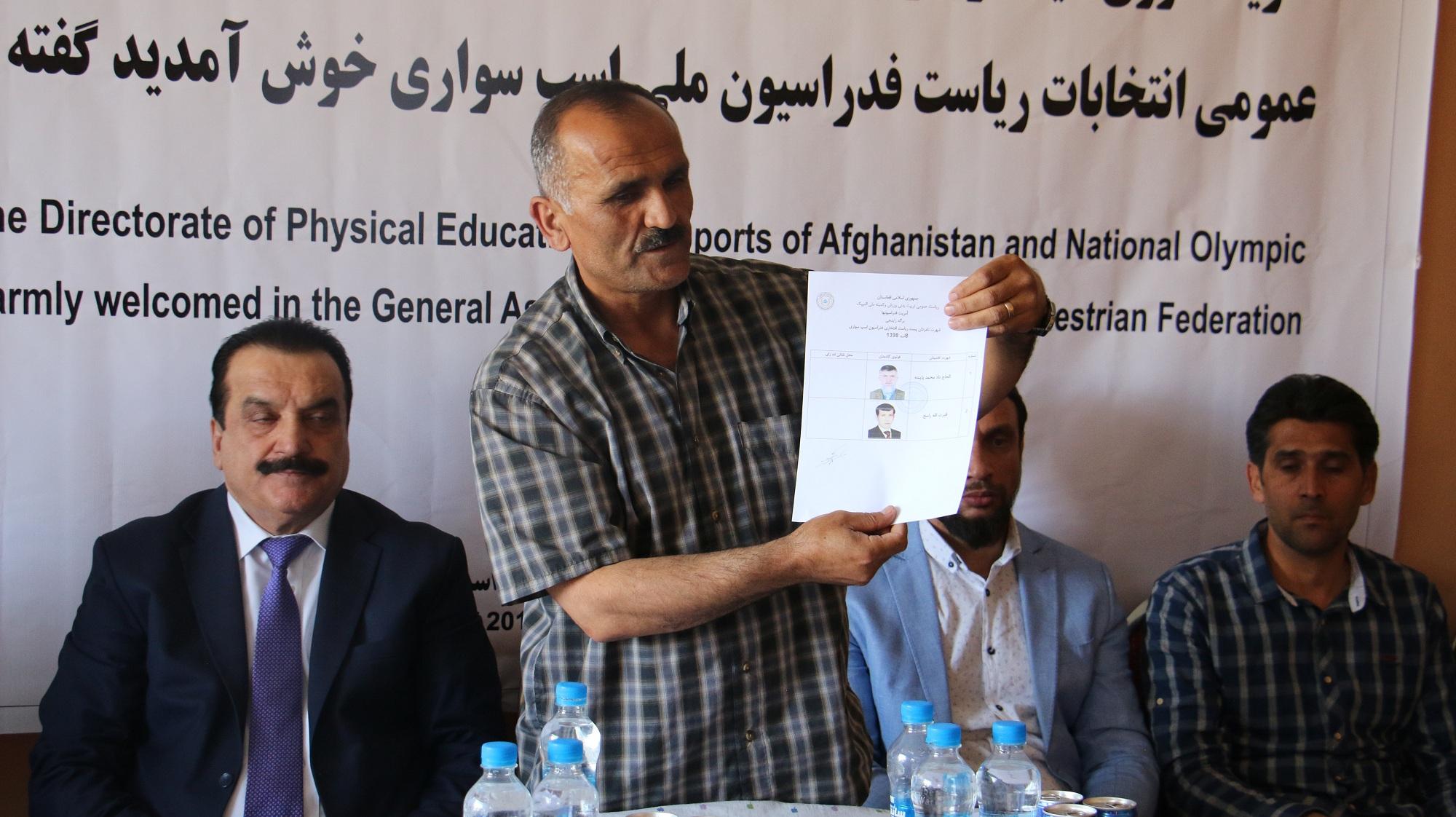 داد محمد پاینده اختری به حیث رییس فدراسیون اسب سواری برگزیده شد .